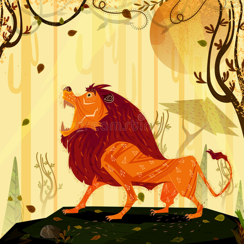 León del animal salvaje en fondo del bosque de la selva stock de ilustración