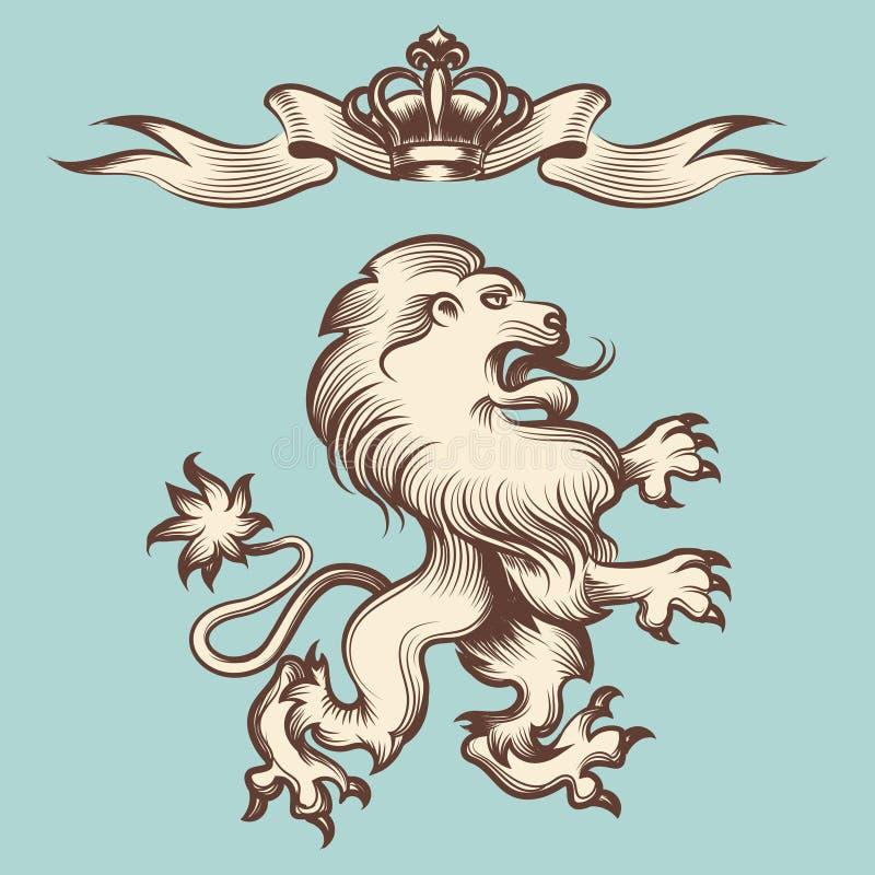 León del grabado del vintage con la corona ilustración del vector