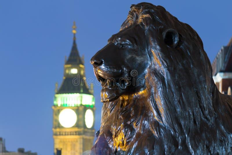 León en el cuadrado de Trafalgar de Londres con Big Ben en el fondo foto de archivo libre de regalías