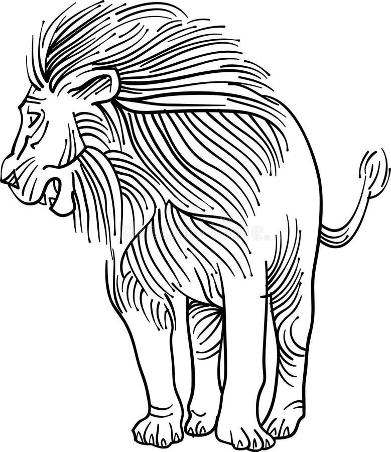 León en la línea arte stock de ilustración