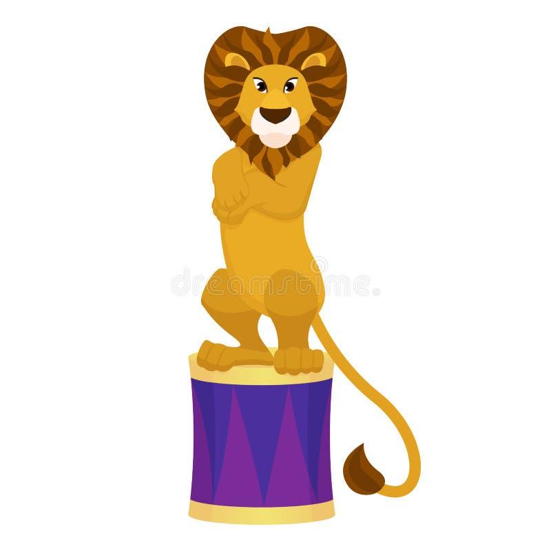 León entrenado divertido en una arena del circo foto de archivo