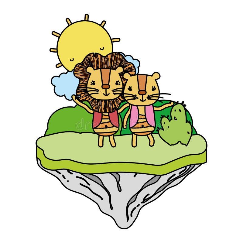 León feliz de los pares del color en la isla del flotador libre illustration