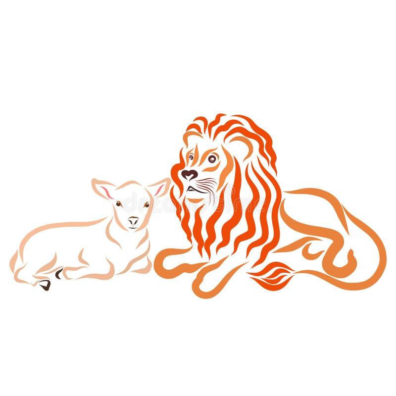 León fuerte y poco cordero junto, pacífico stock de ilustración