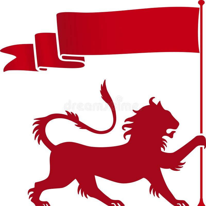 León heráldico stock de ilustración