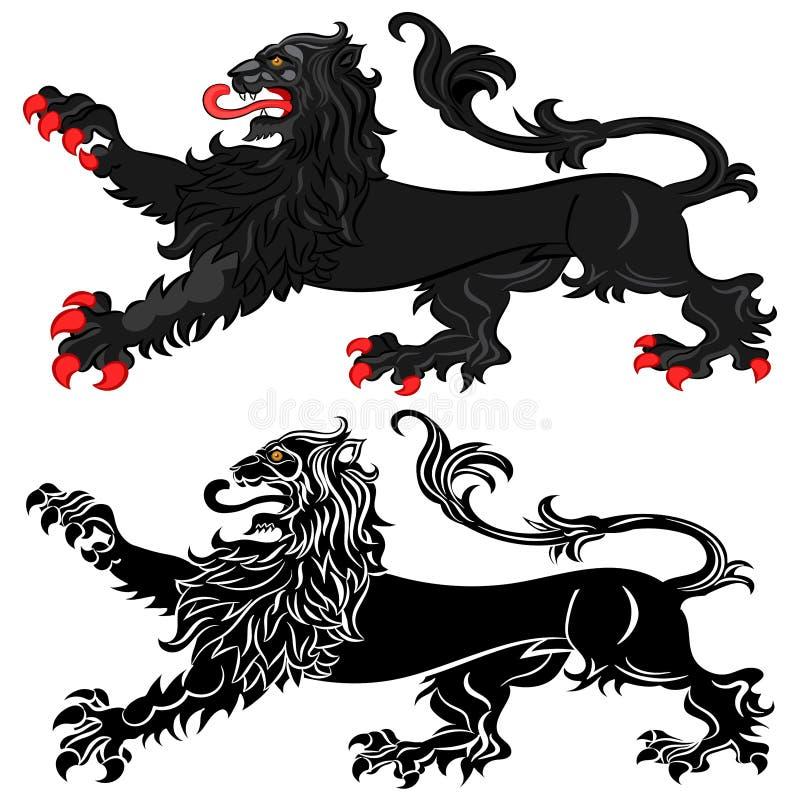 León heráldico en actitud Passant ilustración del vector
