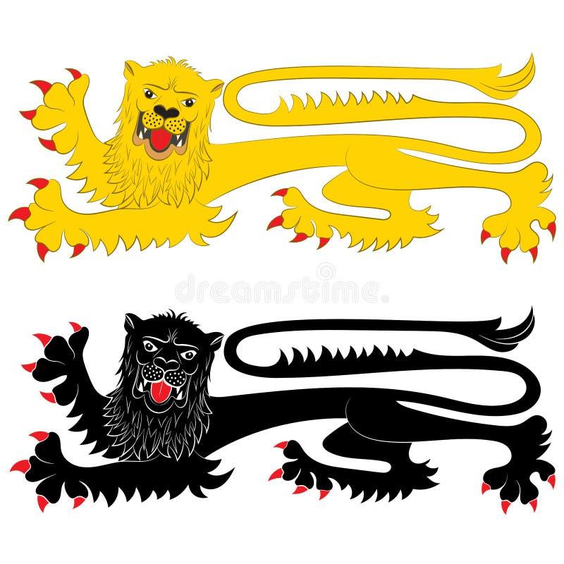 León heráldico en actitud Passant stock de ilustración