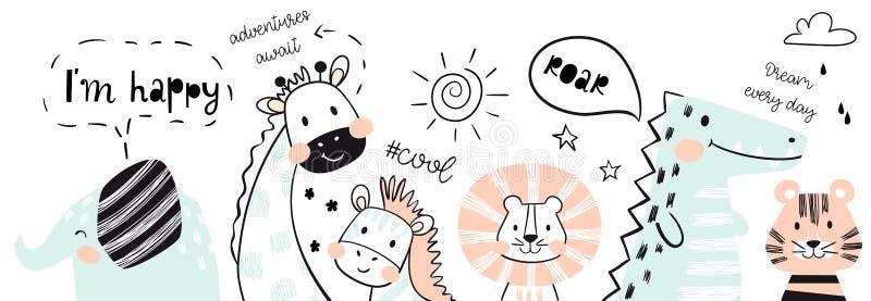 León, jirafa, elefante, cocodrilo, cebra, impresión linda del bebé del tigre Feliz, rugido, lema fresco del texto ilustración del vector