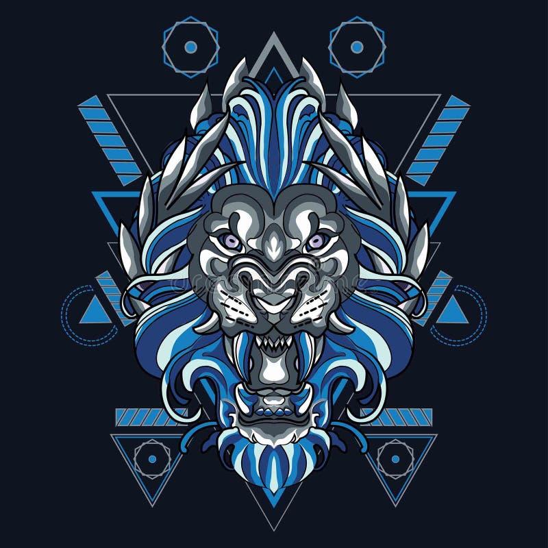 León leo mítico con geometría sagrada Pattren stock de ilustración
