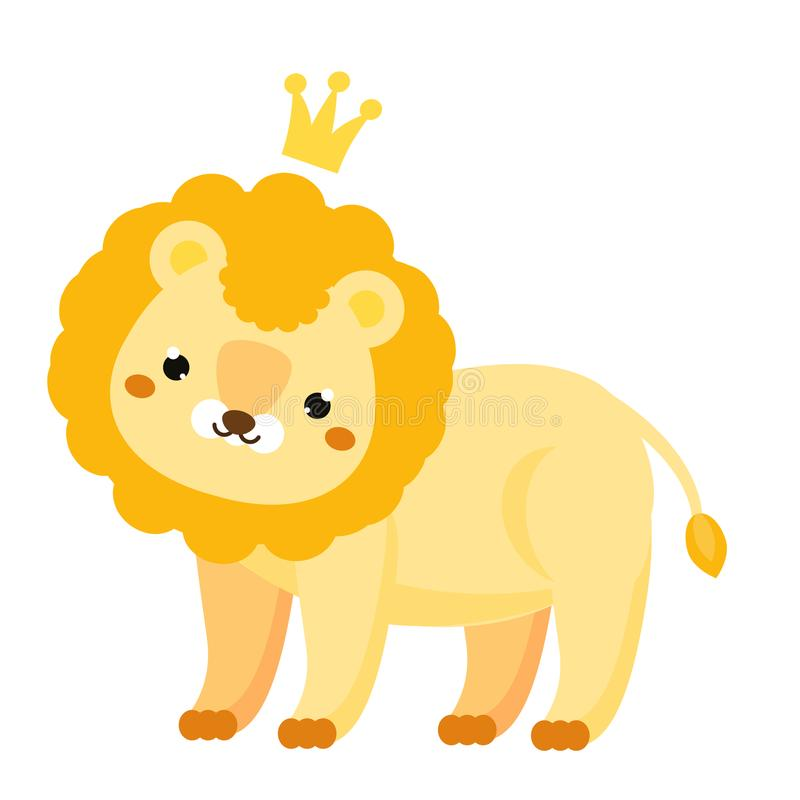 León lindo León de la historieta con la corona Carácter animal de Kawaii para los niños e impresiones y diseño de la moda del beb libre illustration