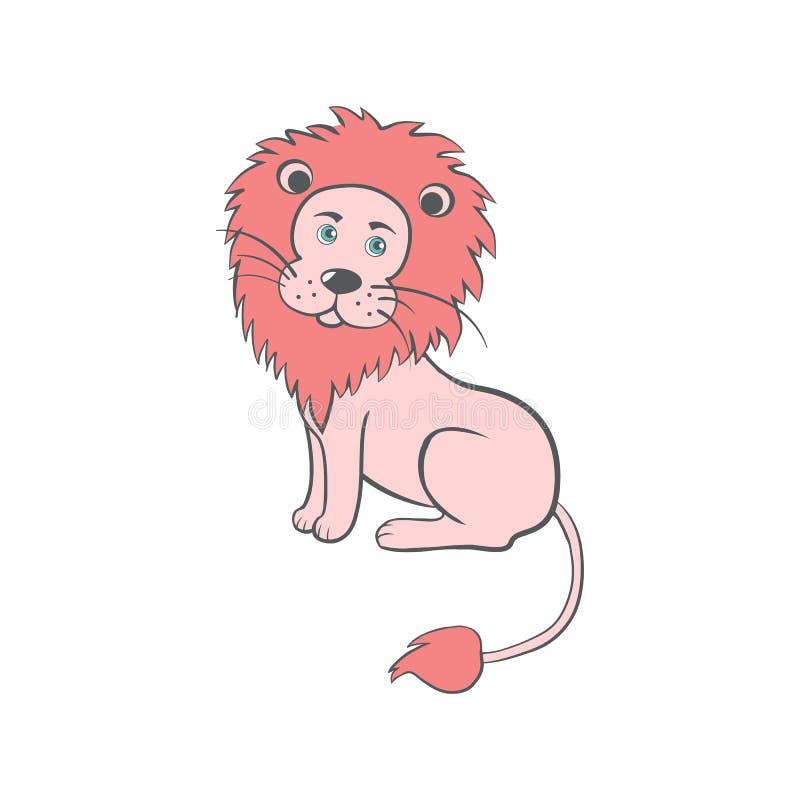 León lindo de la historieta, ejemplo animal del vector del niño salvaje, mamífero colorido, gato australiano divertido aislado en stock de ilustración