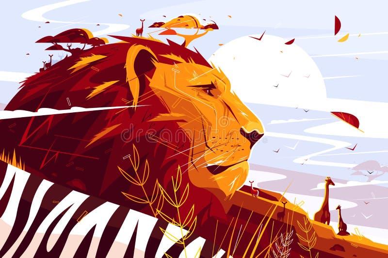 León majestuoso en safari ilustración del vector