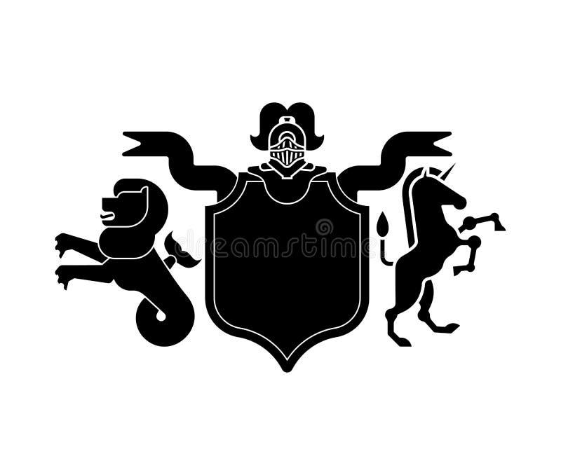 León marino heráldico y unicornio y caballero Helmet del escudo Fantasti stock de ilustración