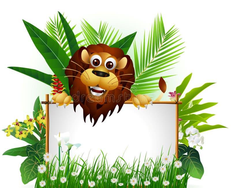 León marrón divertido con la muestra en blanco ilustración del vector