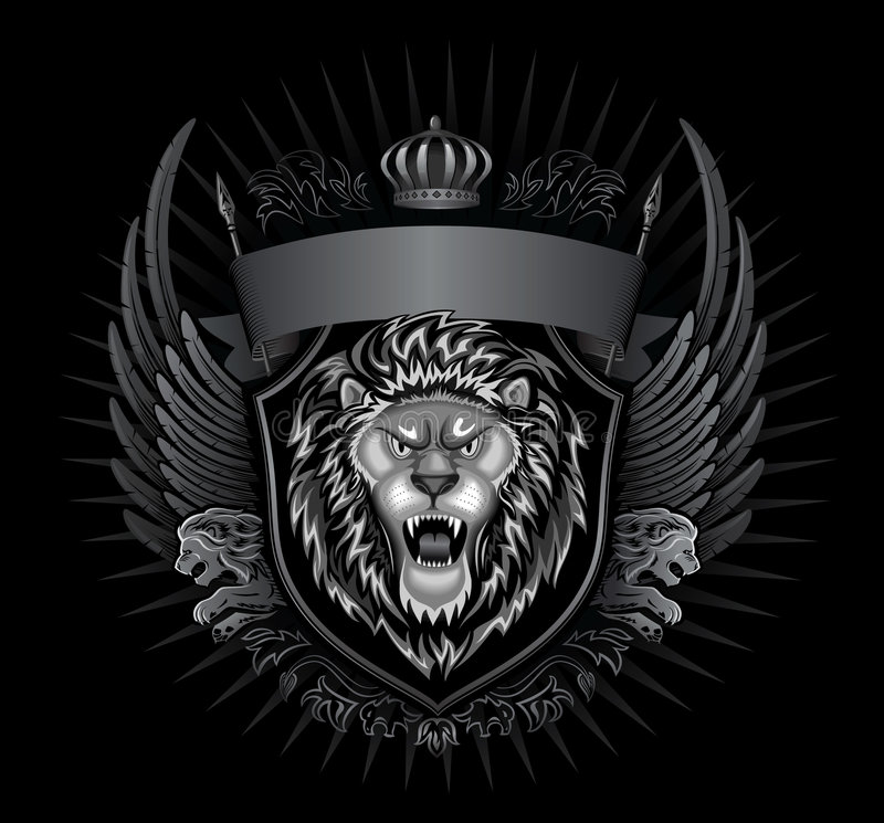 León negro del rugido del fondo