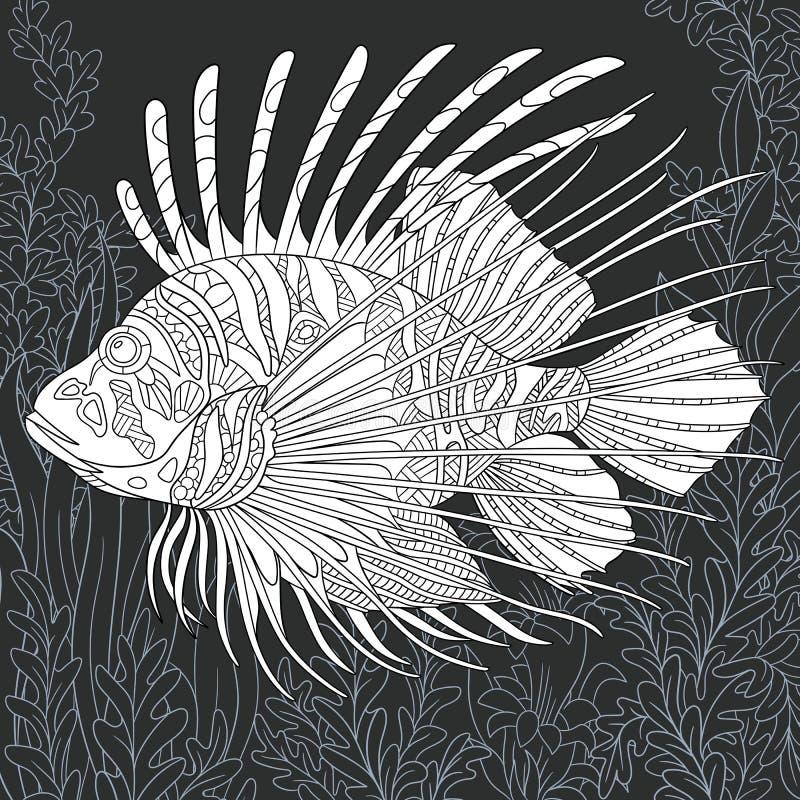 León-pescados en estilo blanco y negro stock de ilustración