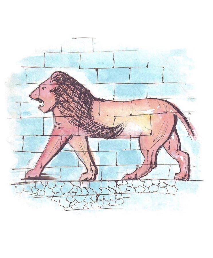 León representado en la puerta de Ishtar de Babilonia, dibujo a pulso stock de ilustración