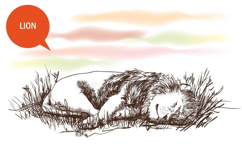 León soñoliento stock de ilustración