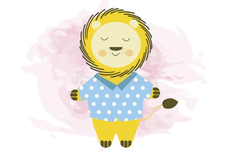 León sonriente lindo de la historieta en la camisa azul - ejemplo del vector stock de ilustración