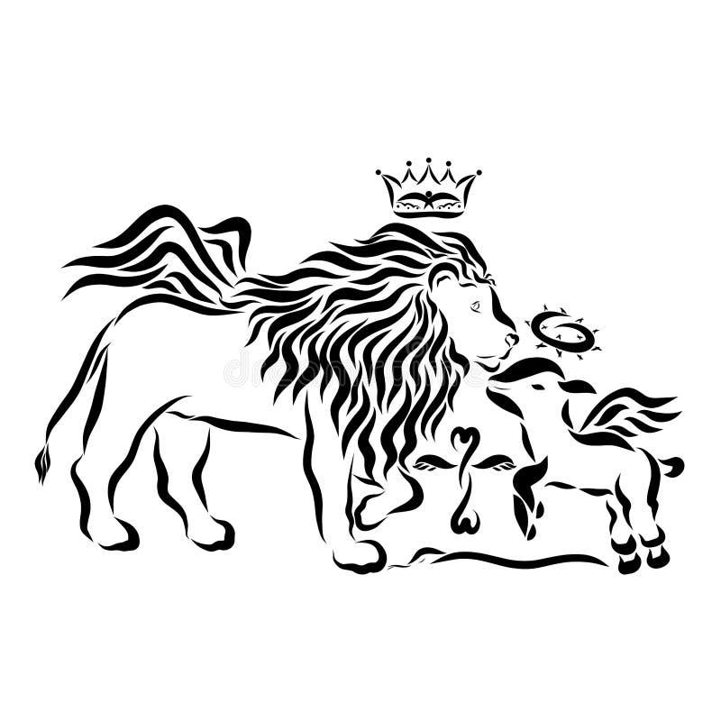 León victorioso con alas con una corona y un cordero humilde con alas con stock de ilustración