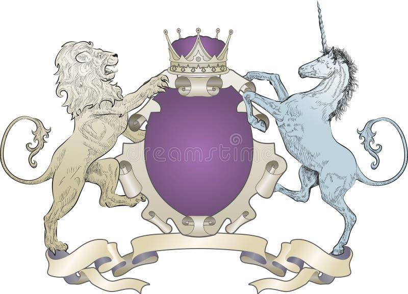 León y capa del unicornio de brazos ilustración del vector