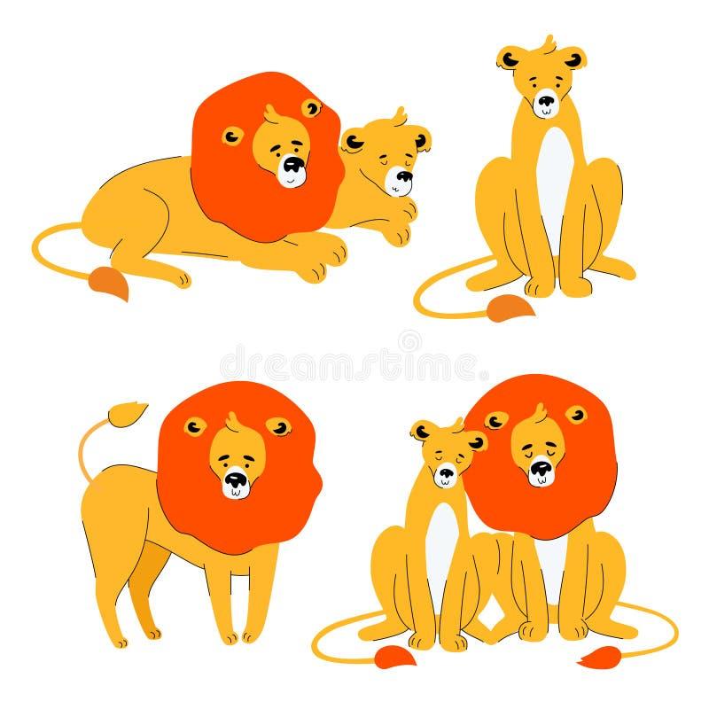 León y leona lindos - sistema plano del estilo del diseño de caracteres libre illustration