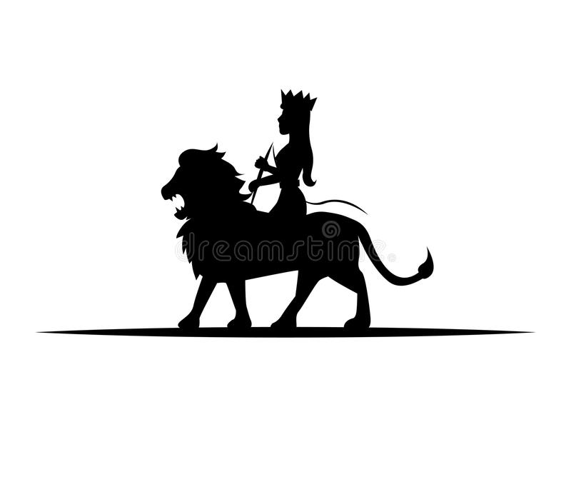 León y reina ilustración del vector