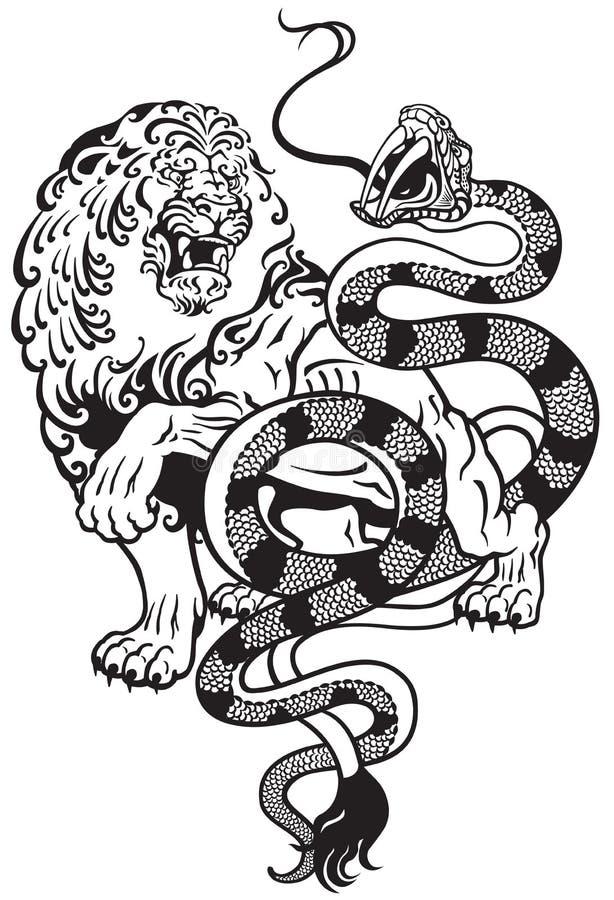 León y serpiente ilustración del vector