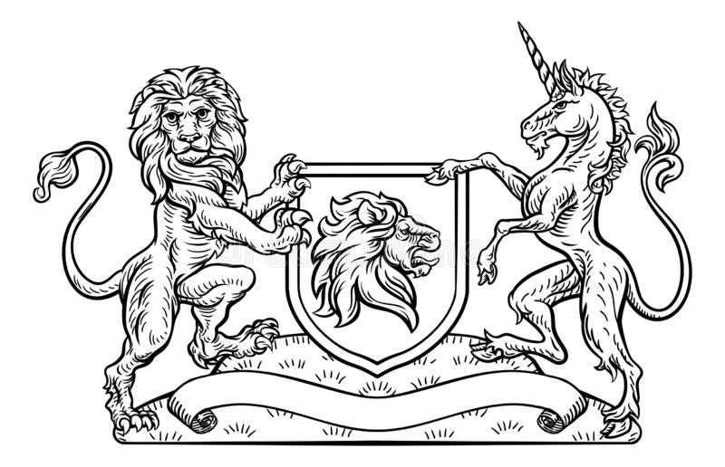 León y Unicorn Shield heráldicos del escudo de armas stock de ilustración
