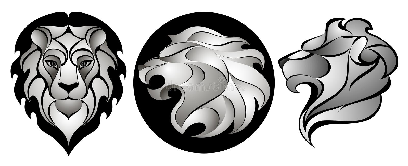 Leões ajustados Lion Head Logo Ilustração conservada em estoque do vetor ilustração stock