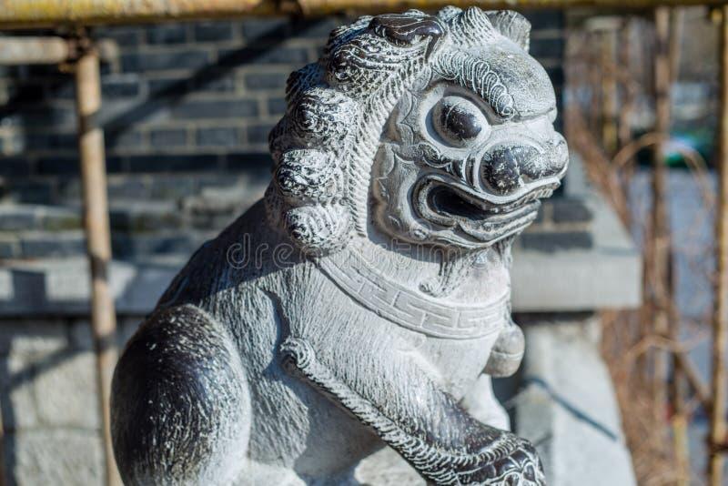 Leões da pedra de China foto de stock