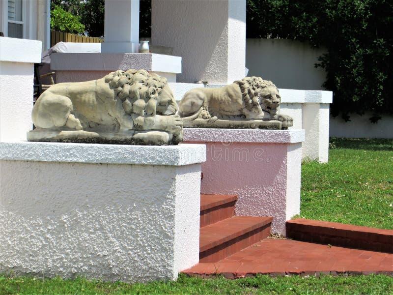 Leões de pedra, bulevar de Bayshore, Tampa, Florida fotografia de stock