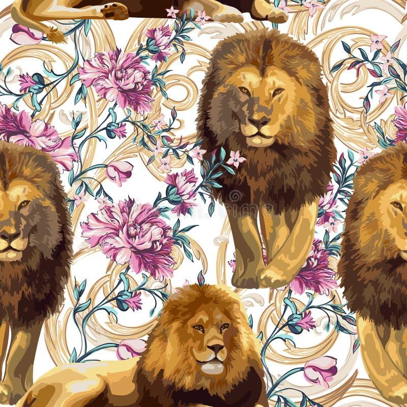 Leões e elementos florais do barique ilustração royalty free