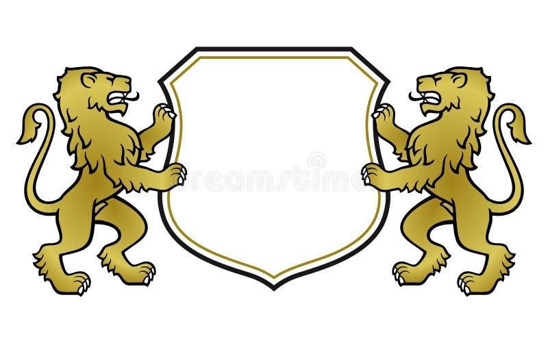 Leões heráldicos com protetor ilustração royalty free