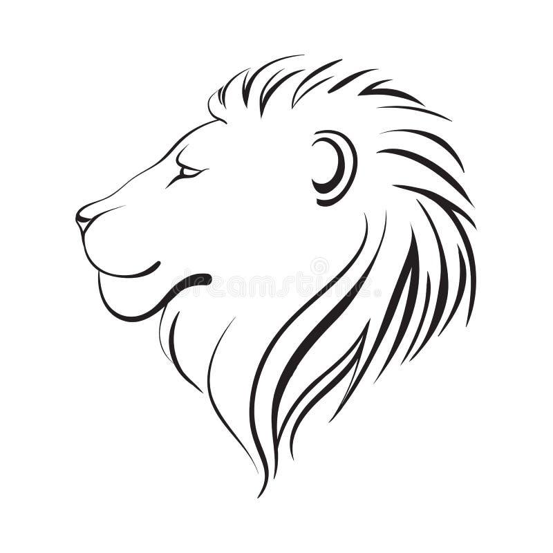 Leões isolados cabeça, ilustração do vetor Perfil do ` s do leão ilustração stock