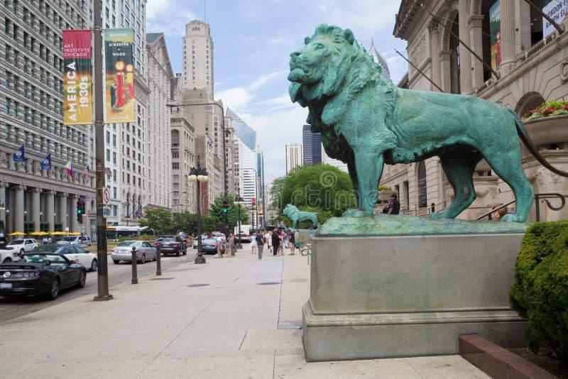 Leões na frente de Art Institute, Chicago fotos de stock royalty free