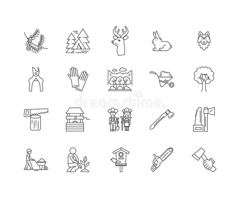 Leśnictwo i las kreskowe ikony, znaki, wektoru set, kontur ilustracji pojęcie ilustracji