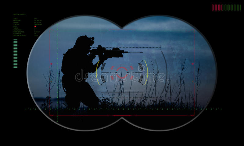 Leśniczy drużyna podczas nocy operaci zakładnika ratuneku widok zdjęcie stock