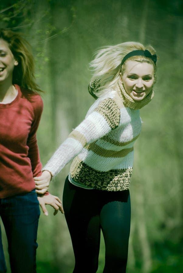 leśny dziewczyn uciekać fotografia stock
