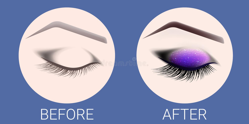 Le ¡ de Ð losed l'oeil femelle avant et après un maquillage et une conception des sourcils Oeil avec de longs cils Extension de c illustration stock
