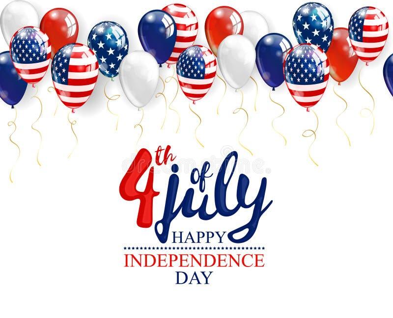 le 4ème juillet - fond de célébration de Jour de la Déclaration d'Indépendance avec des ballons de partie et endroit pour votre t illustration de vecteur