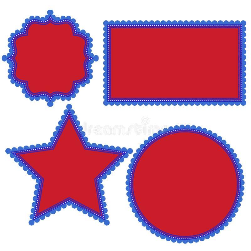 Le 4ème patriotique de l'amusement de fantaisie de juillet forme avec les bords et les points crantés dans blanc et bleu rouges illustration de vecteur
