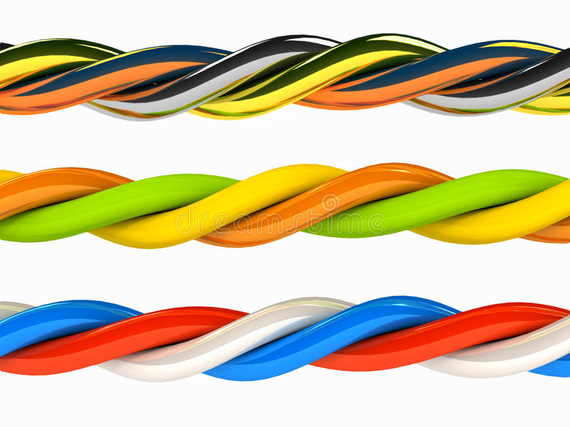 Le 3d câble n'importe quelle couleur au-dessus de blanc illustration libre de droits