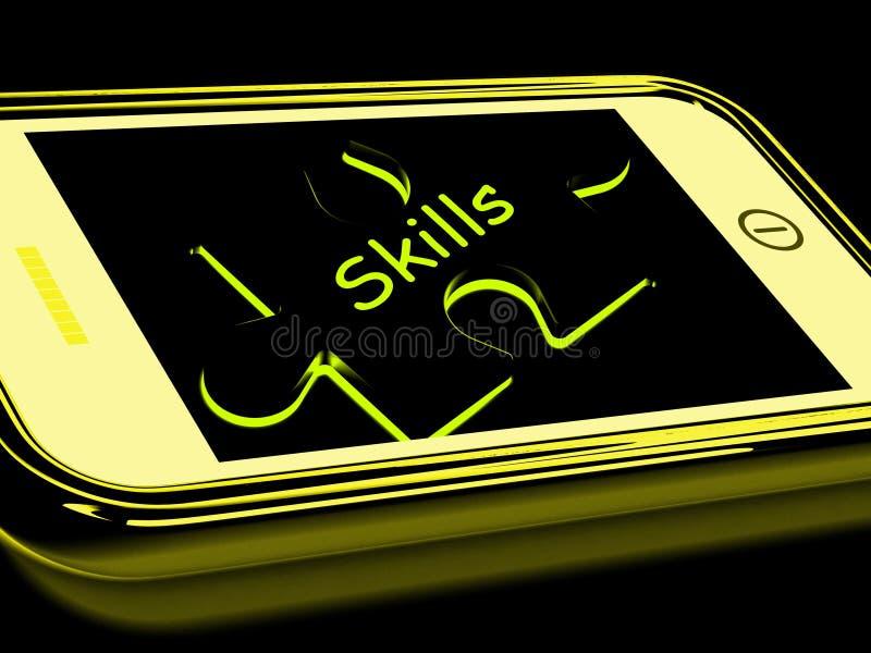 Le abilità Smartphone significa le abilità di conoscenza illustrazione di stock