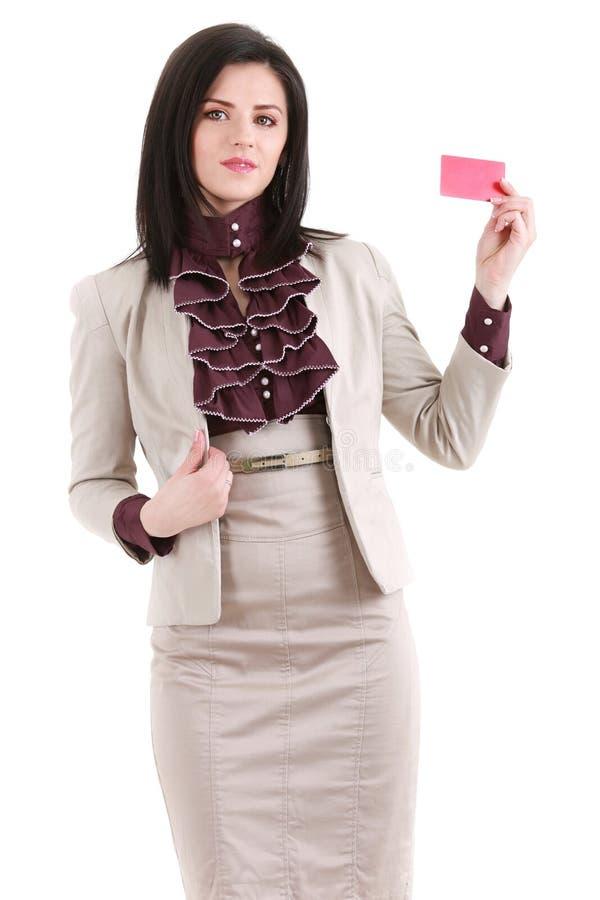 Le affärskvinnan med ett tomt affärsemblem som isoleras på wh fotografering för bildbyråer