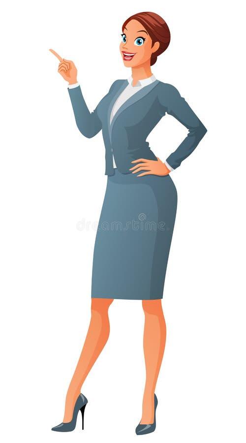 Le affärskvinnan med fingerpunkt upp Tecknad filmvektorillustration på vit bakgrund royaltyfri illustrationer