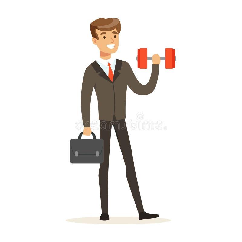 Le affärsmannen i en dräkt som lyfter lätt en hantelvektorillustration vektor illustrationer