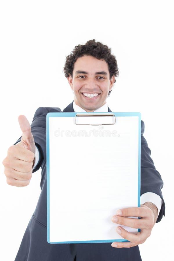 Le affärsmannen i hållande övre för dräkt ett baner eller anmärkningar igen fotografering för bildbyråer