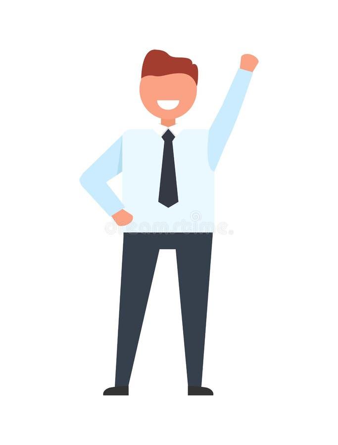 Le affärsmannen Raise hans hand upp den klara arbetaren stock illustrationer