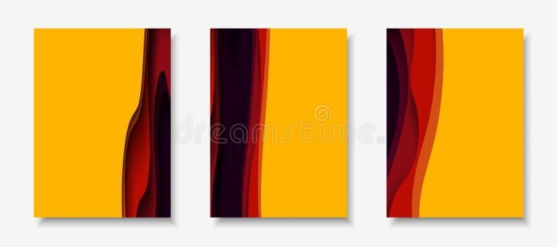 Le alette di filatoio verticali A4 con il fondo dell'estratto 3D con carta hanno tagliato le forme Disposizione di progettazione  illustrazione vettoriale
