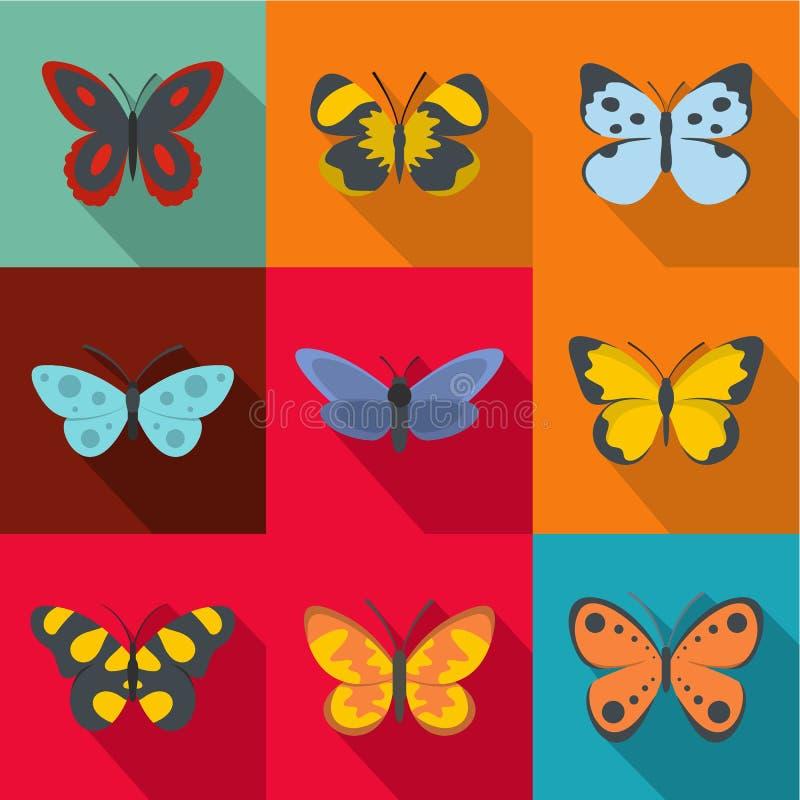 Le ali delle icone di una farfalla hanno messo, stile piano illustrazione vettoriale